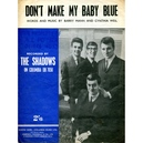 """""""DON'T MAKE MY BABY BLUE"""" SHEET MUSIC THE SHADOWS"""