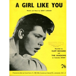 "CLIFF RICHARD ""A GIRL LIKE YOU"" SHEET MUSIC"