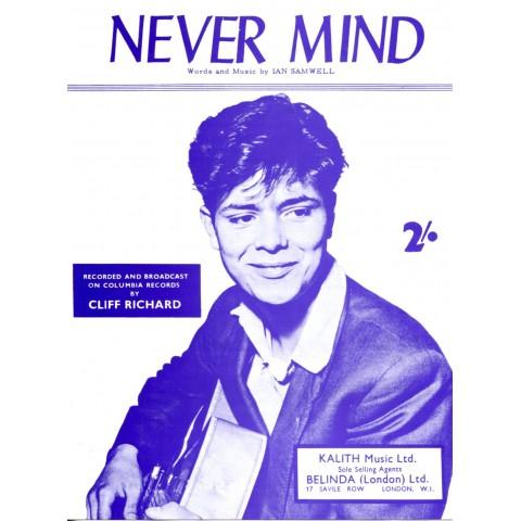 """""""NEVER MIND"""" CLIFF RICHARD SHEET MUSIC"""