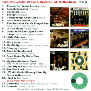 THE SHADOWS - COMPLETE FRENCH SIXTIES EP COLLECTION 59/65 - 3 CD SET